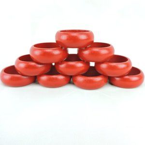 Other - Red Wooden Napkin Rings Set of 10 Simple 5/8""